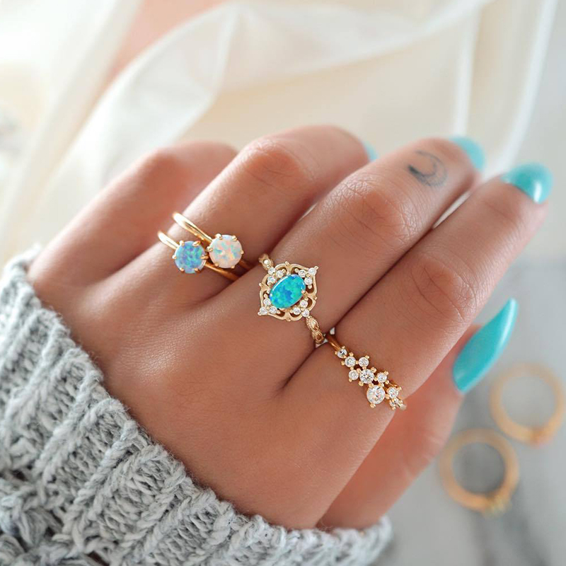 4 Pcs/ Set Vintage Hollow Round Geometric Crown Colored Gem Gold Joint Ring Women Simple Classic Party Jewelry Accessories-in Rings from Jewelry & Accessories on Aliexpress.com | Alibaba Group