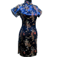 New Arrival Gold Chinese Female Qipao Short Style Cheongsam Traditional Silk Satin Dress Dragon Phenix Size