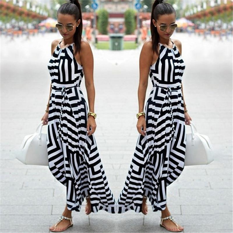 Summer Maxi Long Dress New Fashion Women Sexy Boho Striped Sleeveless Beach Style Strap Sundress Vestidos For Female Bigsweety 2