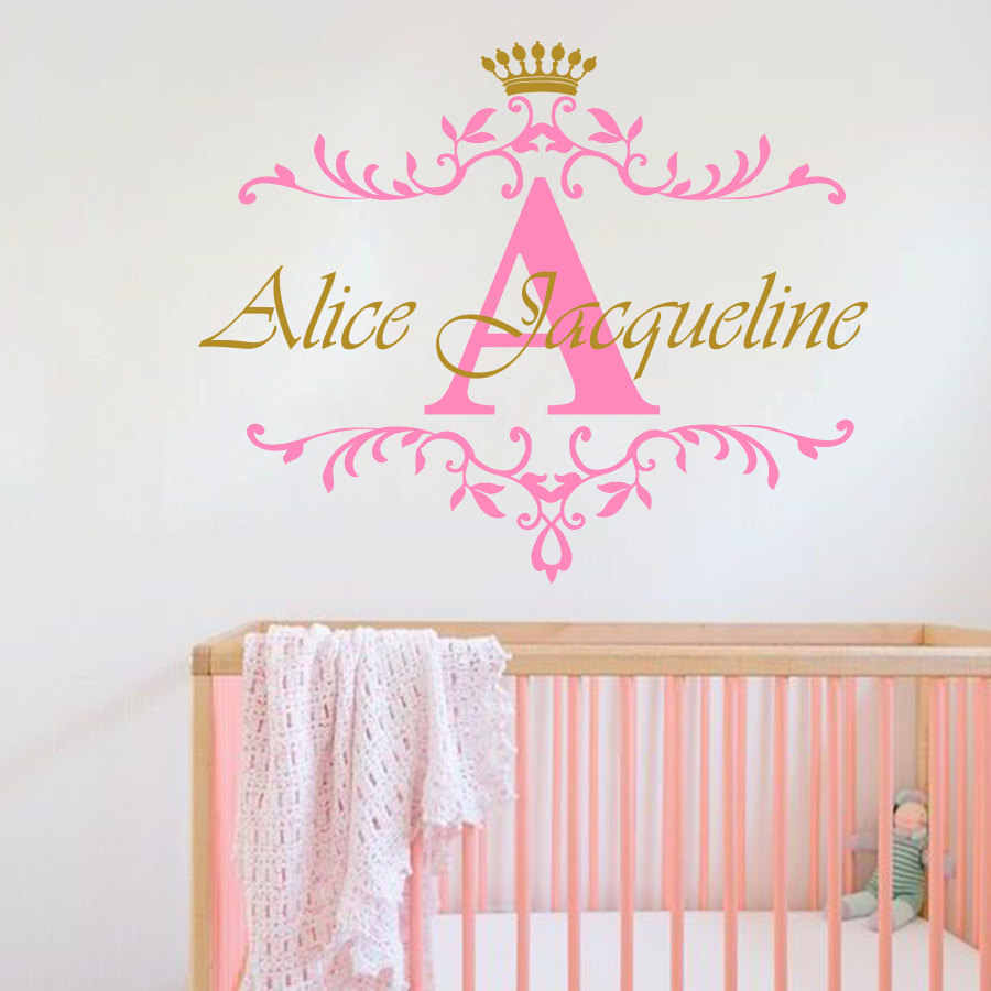 Name Wall Sticker Heart Initial Personalised Wall Decor Kids Baby Art Bedroom