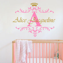 цена на Personalized Name Initial Letter  Wall Sticker Custom Girls Name Crown Baby Home Decor Nursery Children Room Vinyl Sticker W-62