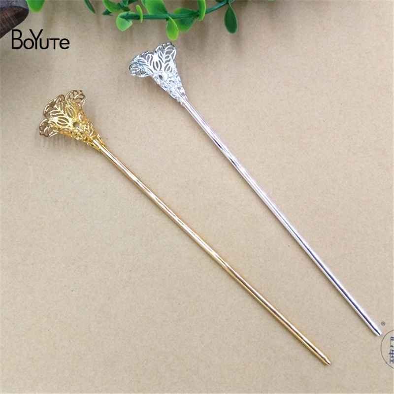 BoYuTe 10 Pieces 120*2.5MM Metal Filigree Flower Hair Stick Diy Hand Made Jewelry Findings Components