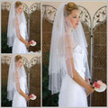 The Best Selling 2016 White Bridal Veils Beads Pencil Edge Two Layers Tulle Fingertip Length Wedding Veils At Big Discount
