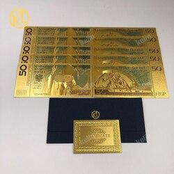 Горячая распродажа 10 шт./лот 50 PLN Злотые Польша золотые банкнот папа г-н Джон Пол II для сбора 999 Золото для сбора сувениров