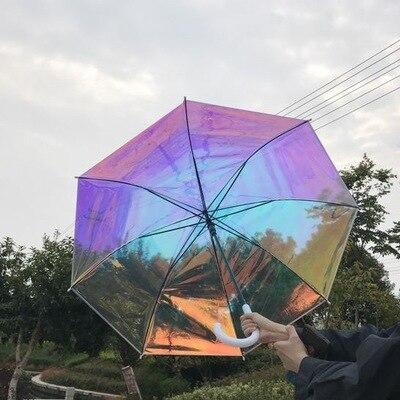 gran venta la mejor moda calidad confiable € 18.35 |Paraguas de plástico PVC holográfico a la moda parasol de lluvia  con mango largo paraguas transparente-in Paraguas from Hogar y Mascotas on  ...