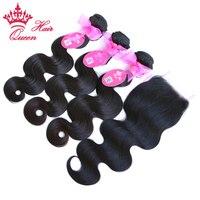 מלכת מוצרים לשיער ברזילאי גוף גל שיער אדם 3 חבילות שוזר עם סגירת תחרה 4 יח'\חבילה רמי שיער אריגת צבע טבעי