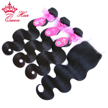 Queen Hair Products Brasilian Body Wave Human Hair 3 Bundles Weaves Med Lace Closure 4pcs / lot Remy Hair Waving Natural Color