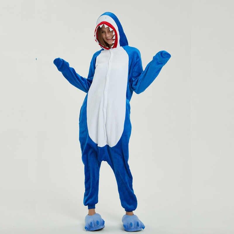 ... Фланель Акула Kigurumi животных костюм комбинезоны для взрослых боди  пижамы для шоу Для мужчин Для женщин 1e93d626a0e0a