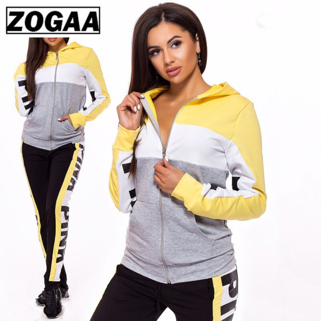 ZOGAA Color Blocking Women Suits for Sporting High Quality Cotton Polyester Hooded Running Suits with Zipper 2 Piece Fitness Set