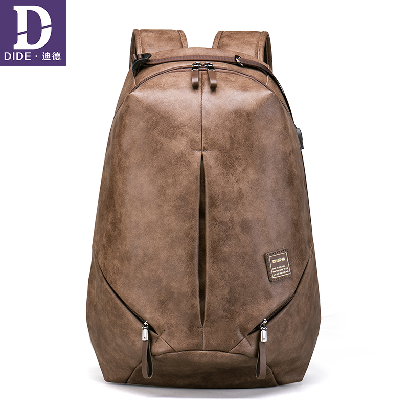 DIDE 2018 Backpack Men USB Charge Waterproof Backpack Fashion PU Leather Travel Bag student Casual School
