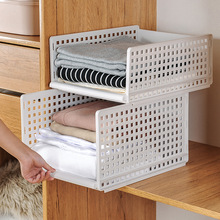 1pcs Foldable Drawer Type Clothes Folder Layered Separator Wardrobe  Sundries Storage Rack Space Saver Kitchen Bedroom Organizer