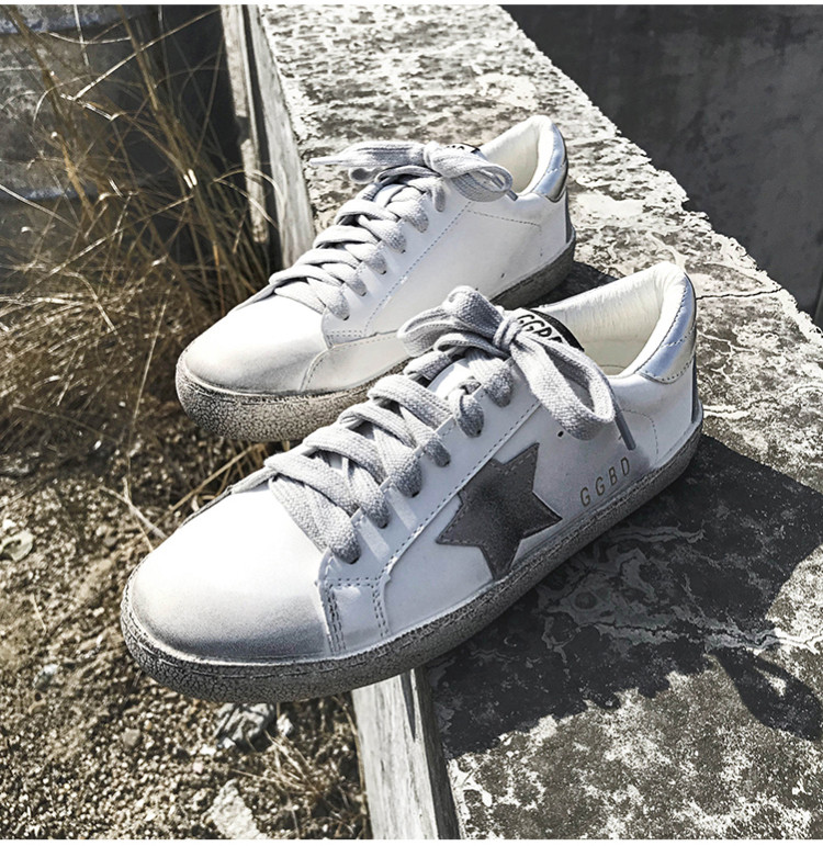 PINSEN New Women Casual Shoes Glitter Leather Do Old Dirty Shoes Mixed  Color Sneakers Women Sequins Star Golden Fleeces trainers 2dce76ec0ca7