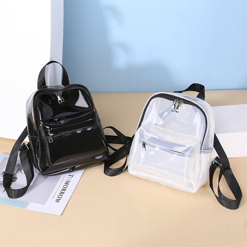 Fashion Women Men Unique Clear Transparent PVC See Through Mini Backpack Cute Fashion Casual Small School Book Shoulder Bag