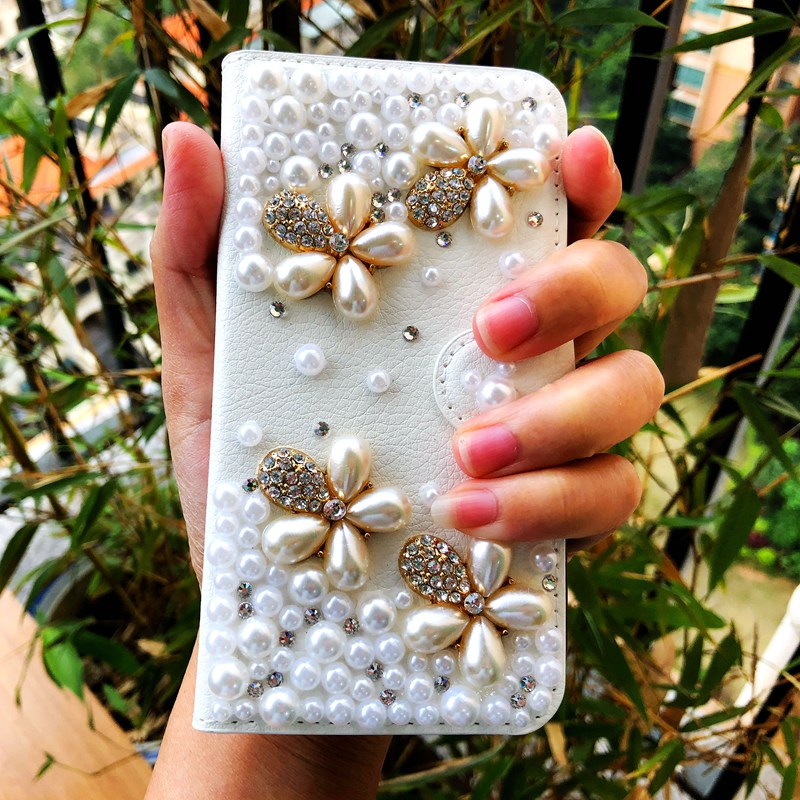 Vintage Wallet Flip Leather Phone Case For Samsung Galaxy Note 8 5 4 3 2 S9 S8 Plus Pearl Flower Diamond Rhinestone Case Bag
