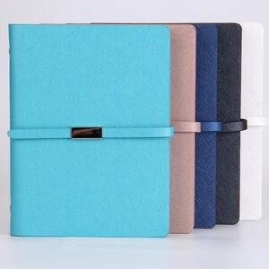 Image 2 - Pu Leder Lose Blatt Notebook Hardcover Journal ring binder Holzfreies Papier Clip planer Individuelles Logo Metall Magnet Schnalle