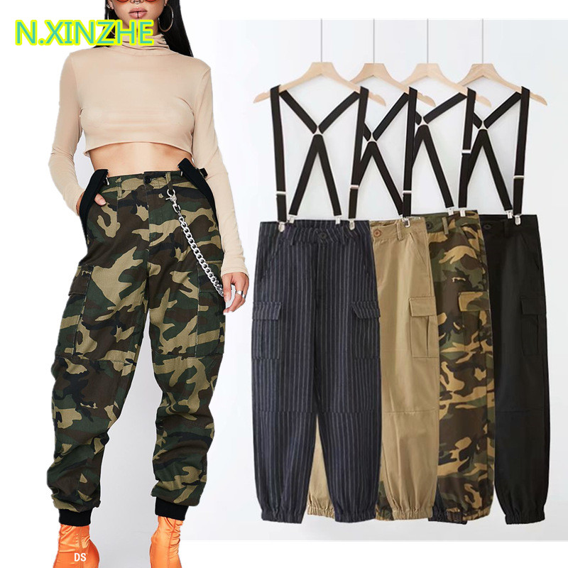 2018 women clothing high waist pockets camouflage cargo   pants   relaxed   capris   Female fashion casual loose cotton overalls K2005
