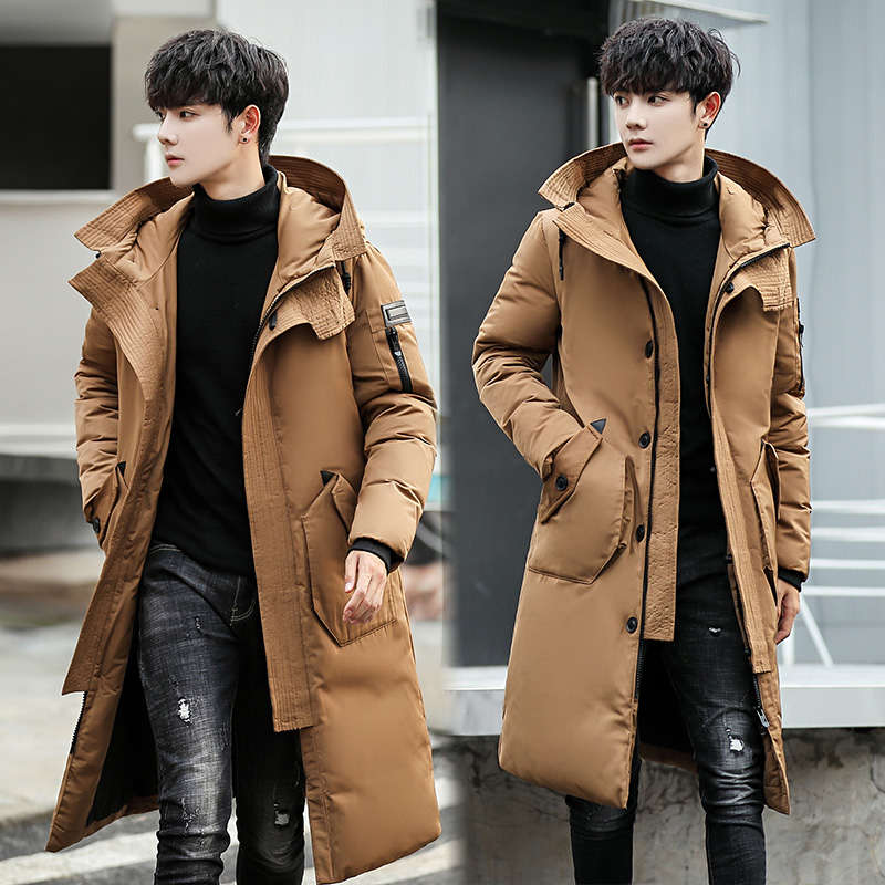 B Down Jackets Male Thick Fashion Puffer Jacket Hooded Long Winter Duck Down Parkas Men Casual Clothing Outwear plus size 3XL in Parkas from Men 39 s Clothing