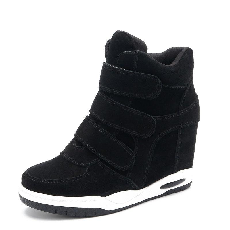 лидер продаж осень стиль женская обувь ботинки на скрытой танкетке женская обувь, увеличивающая рост повседневная обувь для женские ботильоны lorfrcin