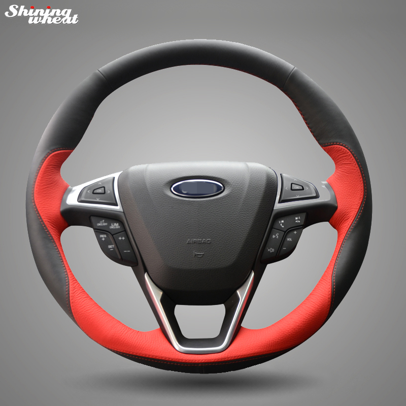 Shining wheat Hand stitched Black Red Leather Steering Wheel Cover for Ford Fusion New Mondeo 2013