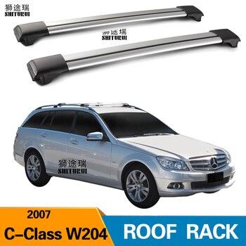 2 adet çatı barlar mercedes-benz c-class için W204 5 kapı Estate 2007-2014 alüminyum alaşım yan barlar çapraz raylar portbagaj bagaj