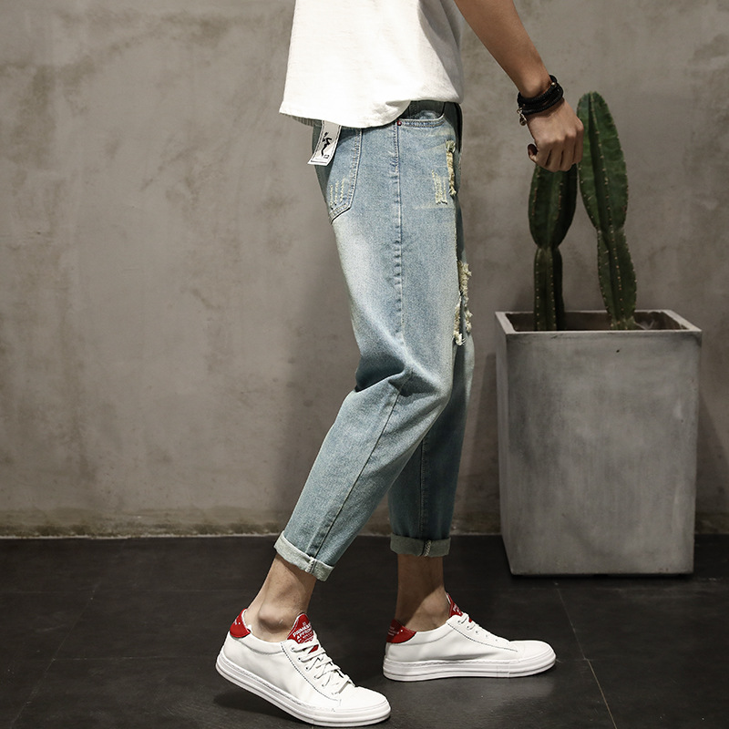 Mens jeans, spring fashion, fashion, holes, mens pants, simple fashion, Korean version, nine points, trousers and men.