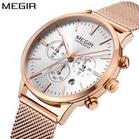 Megir Fashion simple style top luxury brand watch women chronograph Quartz gold mesh steel wristwatch thin Dial Relogio feminino