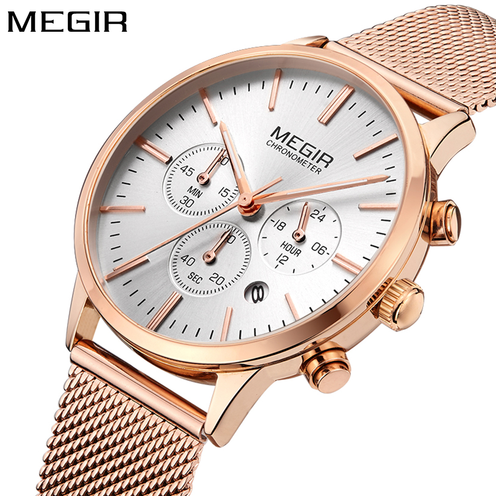 цена на Megir Fashion simple style top luxury brand watch women chronograph Quartz gold mesh steel wristwatch thin Dial Relogio feminino