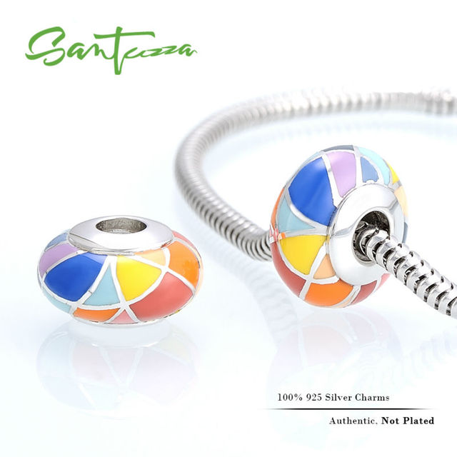 Silver Enamel Charm Colorful Beads Charm Fit For  Bracelet Bangle DIY Making 100% Authentic 925 Sterling Silver Women Jewelry