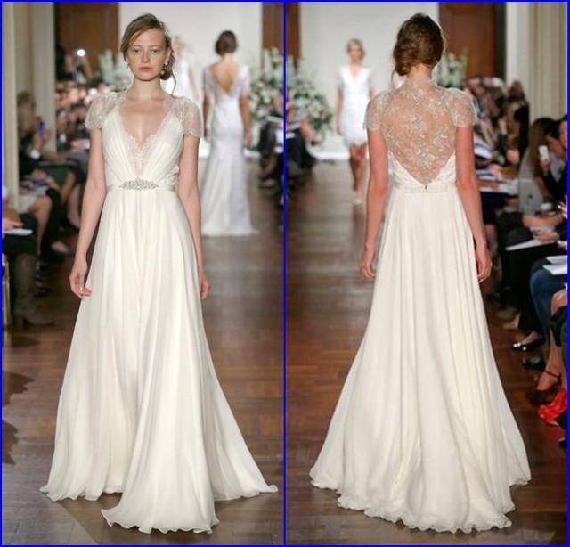 Etonnant Romantic Vestido De Noiva V Neck Lace Cap Sleeve A Line Perfect Wedding  Dress Jenny Packham