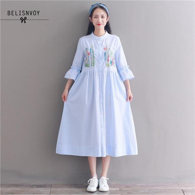84777bc11a5 Mori Girl Blue Striped Dress 2018 Summer Women Floral Embroidery Cotton Linen  Shirt Dresses Mid-