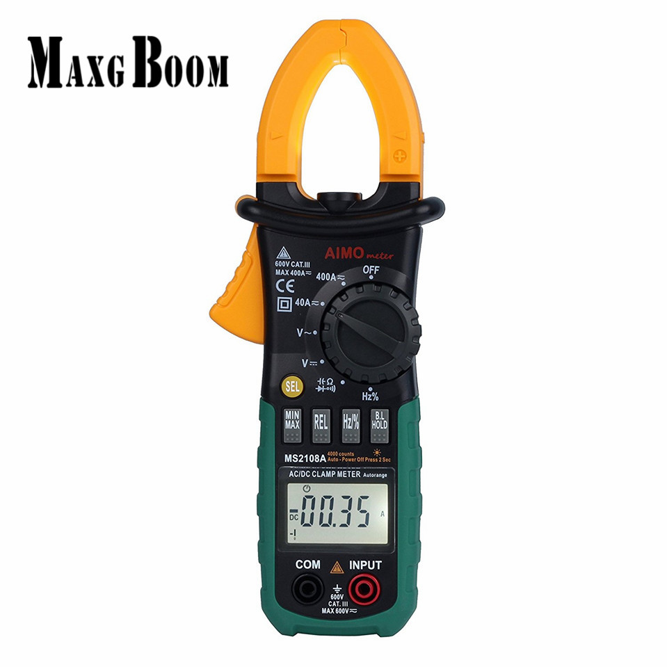 MaxgBoon MASTECH MS2108A Digital LCD AC DC Current Clamp Meter Auto Range Multimeter Frequency Capacitance Meter Tester mastech my68 handheld lcd auto manual range dmm digital multimeter dc ac voltage current ohm capacitance frequency meter