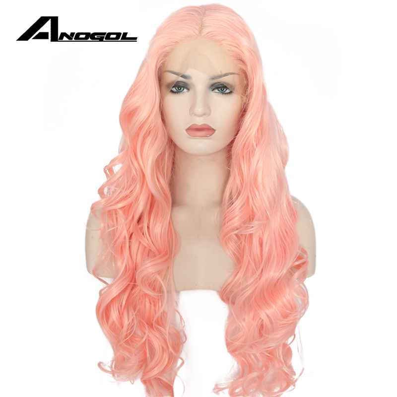 Anogol Glueless High Temperature Fiber Perruque Pink Full Lace Wig Long Body Wave Synthetic Lace Front Wig For Women Cosplay