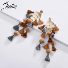 Joolim Jewelry Wholesale/Tiered Tassel  Fringe Earrings With Pom Pom Statement Earrings