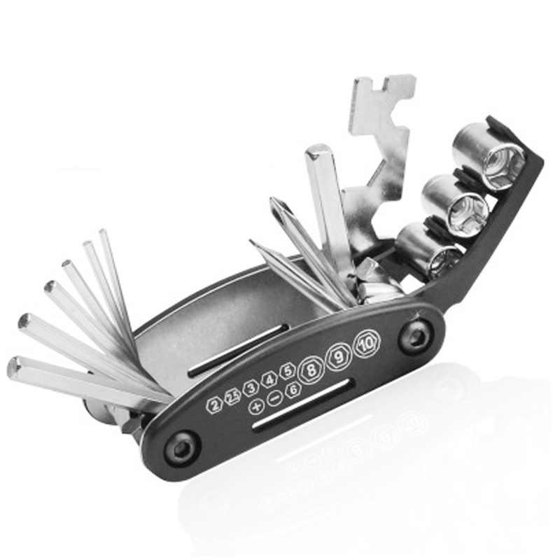 Zk30 navio da gota de aço portátil multifunções ferramenta de reparo da bicicleta mão 16-1 conjunto ferramentas chave de fenda dobrável hexagonal ciclismo
