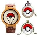 Caso de Madeira da forma Pokemon Cinta de Couro Banda Relógio de Pulso Das Mulheres Dos Homens Casuais Natureza Madeira + Relógio de Bolso + Colar Pikachu