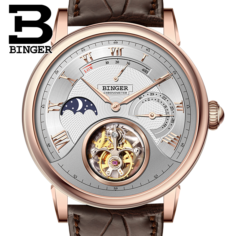 Switzerland BINGER Watches Men Luxury Seagull Automatic Movemt Watch Male Tourbillon Sapphire Alligator Hide Mechanical 80801-3 ultra luxury 2 3 5 modes german motor watch winder white color wooden black pu leater inside automatic watch winder