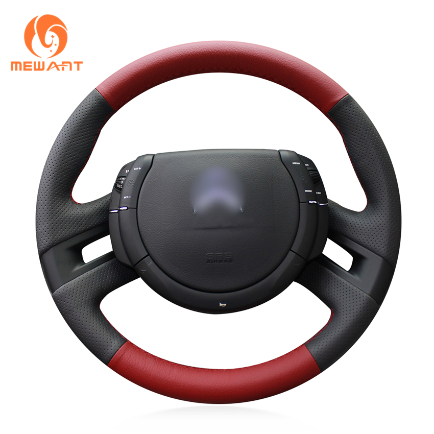 MEWANT Black Red Genuine Leather Car Steering Wheel Cover for Citroen C4 Picasso 2007-2013