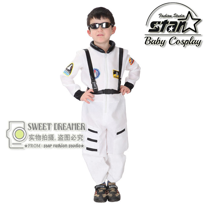 Festival Carnival Halloween Costumes For Boys Children Astronaut Jumpsuit  Kids Cosplay Pilot Performance Stage Outfit