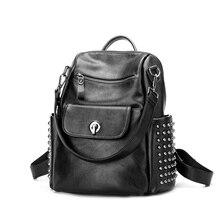 Модные женские туфли рюкзак с заклепками черный натуральная кожа сумка ранцы для девочек женский досуг сумки на ремне Mochilas