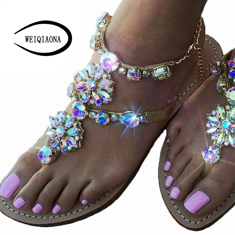WEIQIAONA 2018 New big size 34-47 Bohemian summer Women Sandals Bling with Rhinestone Flowers flats Flip-flops sandals Women