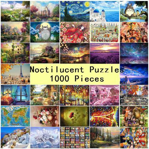1000 pezzi Di Puzzle Per Bambini Puzzle Nottilucenti Giocattoli Educativi per I Bambini di Età Fluorescente puzzle