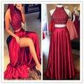 Sereia Duas Peças Vestidos de Noite 2017 de Moda de Nova Halter Backless Sparkly Beading Prom Vestidos