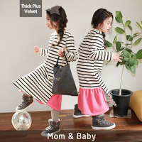 Winter Fashion Mom And Kids Couple Look Stripe Thick Plus Velvet Girls Clothes Dresses Mother Daughter