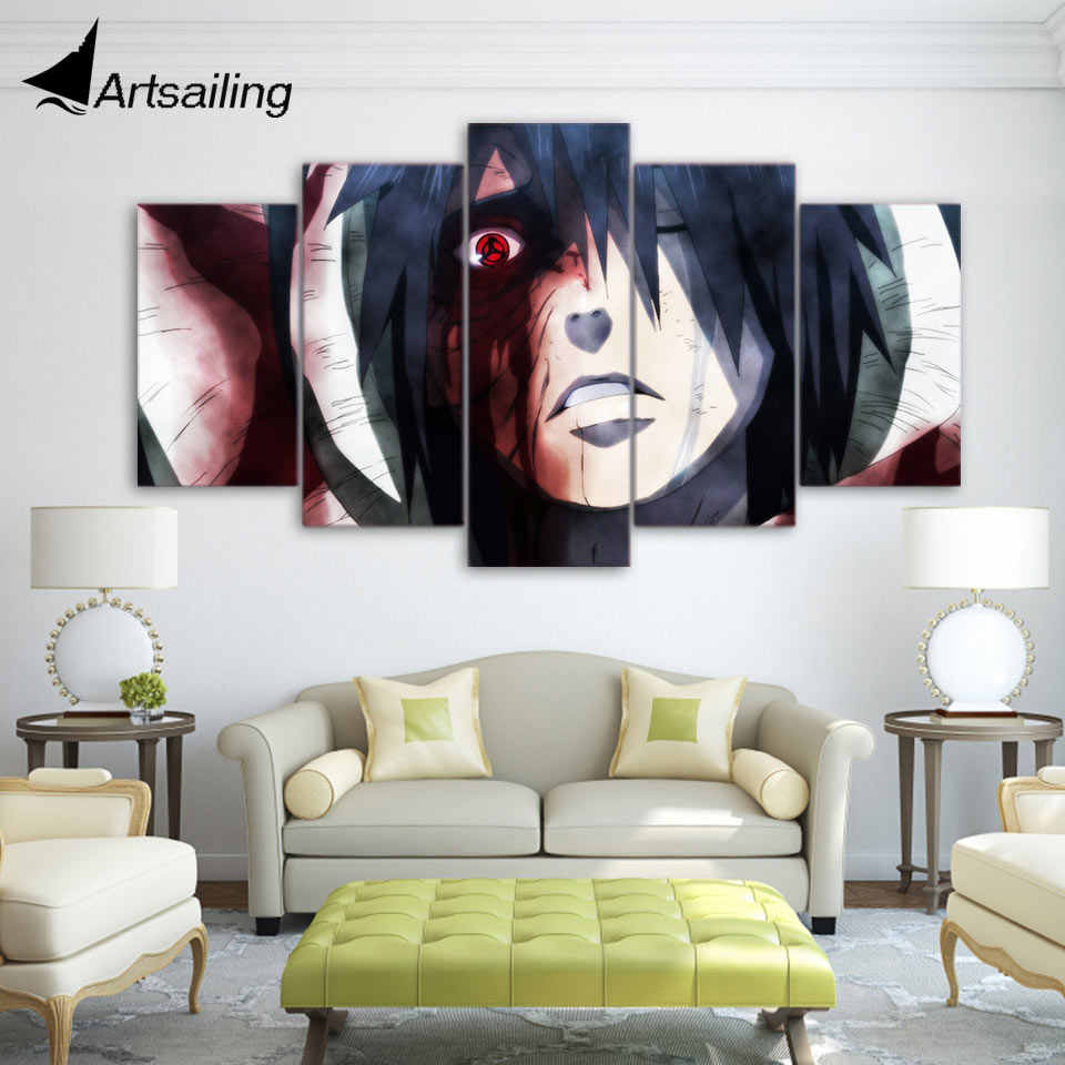 Artsailing 5 piece canvas art hd print anime naruto bleeding eye painting paintings for living room wall free shipping up 1937a