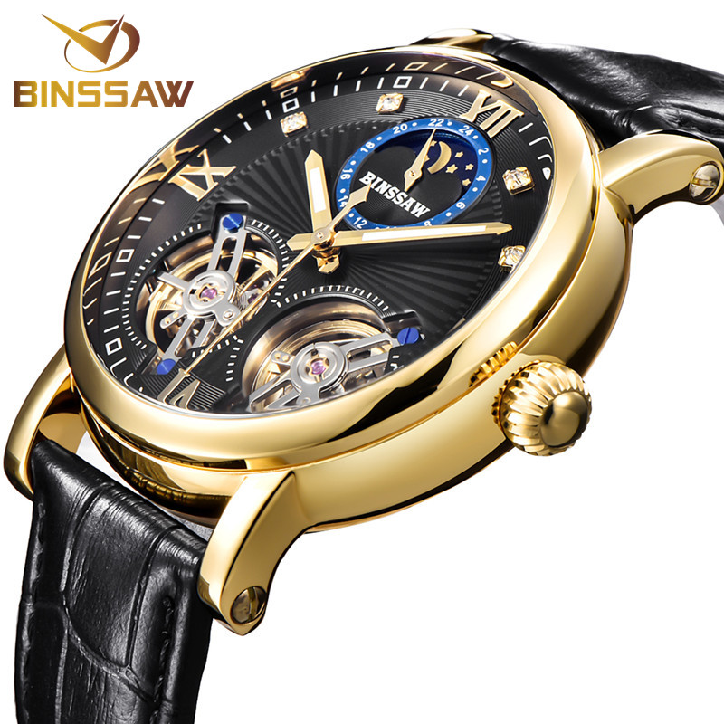 BINSSAW Mens Automatic Mechanical Steel Tourbillon Luxury Brand Watch Fashion Business Leather Sports Watches Relogio Masculino men s automatic mechanical watch tourbillon leather multi functional business fashion original luxury brand watches