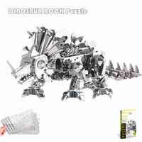 Piececool 2016 Newest 3D Metal Puzzles of Dinosaur Rock Silver Color 3D Assemble Model Kits DIY Funny Gifts for Kids IQ Toys