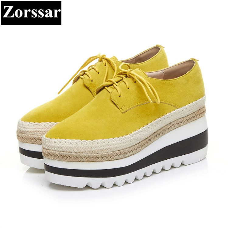 {Zorssar} Autumn Ladies Shoes Wedge High Heels women Platform pumps Fashion casual lace up Genuine Leather Suede womens shoes creepers platform korean suede medium wedge autumn high heels shoes big size casual black pumps green round toe ladies fashion
