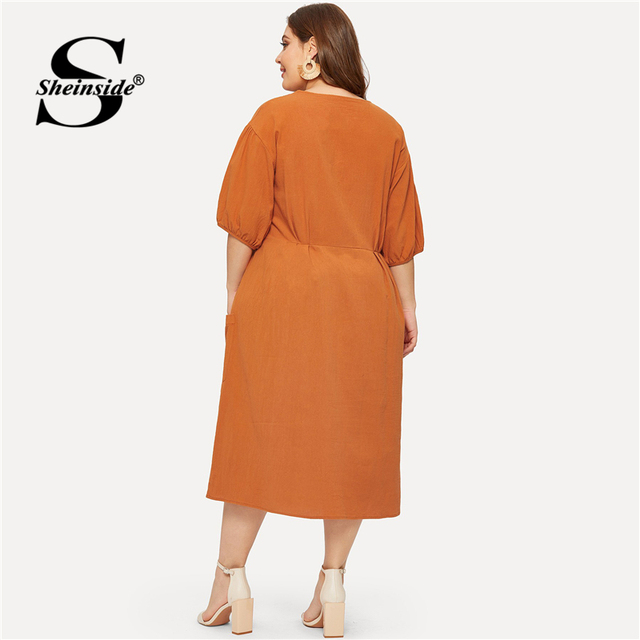 Sheinside Plus Size Orange Pocket Button Front Shirt Dress Women Half Sleeve Bodycon Summer Dresses 2019 Casual Solid Midi Dress 1