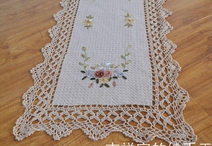 bordado a mano camino de mesa crochet cosecha mesa de cinta de tela manteles sof