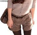 2017 Nueva Mujer Nueva otoño invierno Pantalones Cortos A Cuadros de Lana Gruesa mujeres Delgadas Pantalones Cortos de Diseño Más El Tamaño de la Corto D017